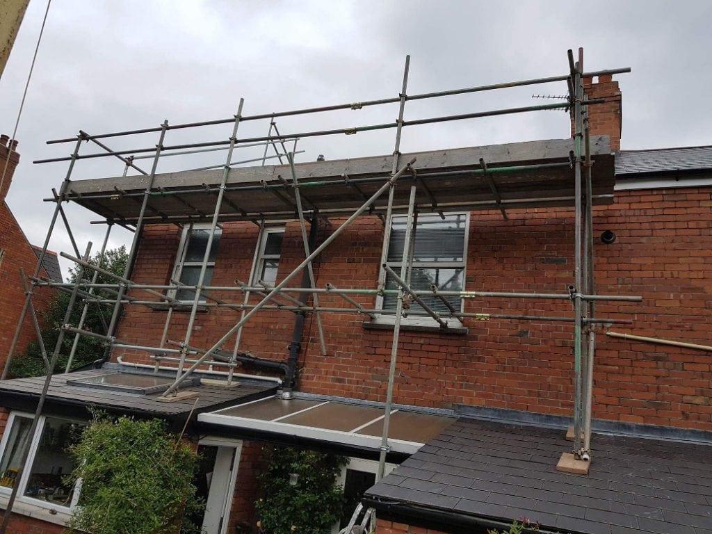 Residential Roof Repair Scaffold